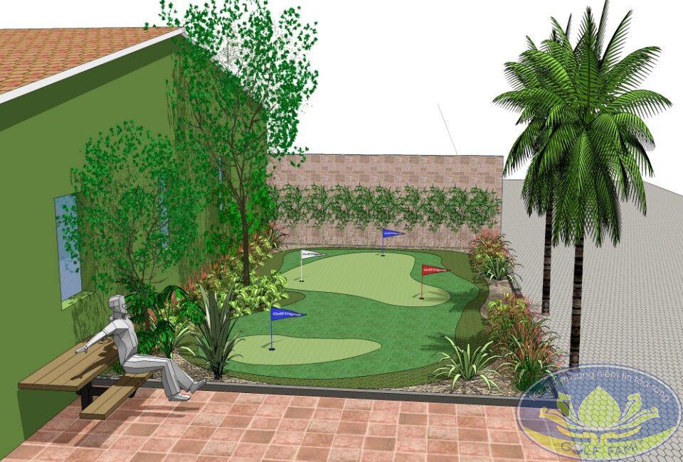 Bản vẽ thiết kế sân tâp golf mini trên tầng thượng