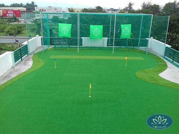 Thi công sân tập golf trên sân thượng