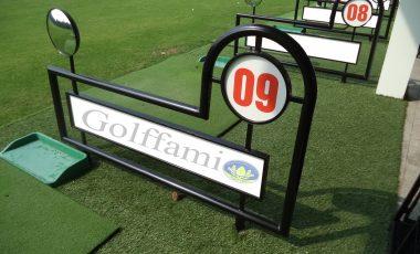 Vách ngăn sân tập golf bằng sắt có gương