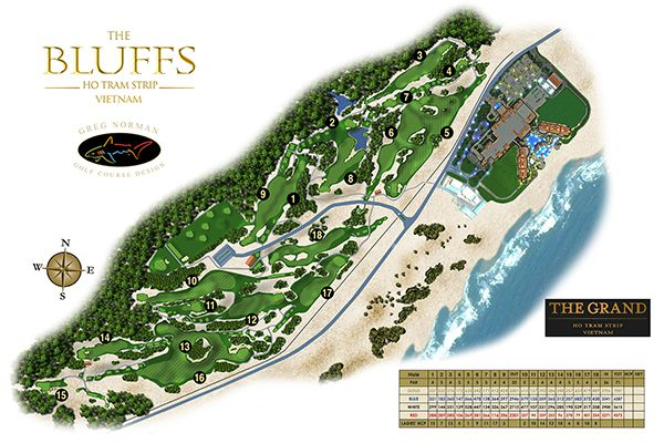 Bản đồ của sân golf Hồ Tràm