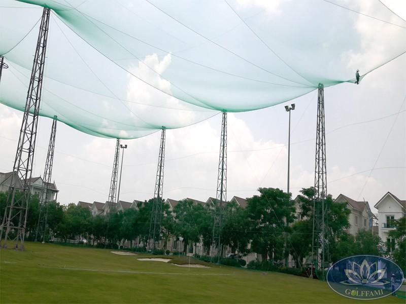 thi công lưới sân tập golf Golffami tại vinhome riverside